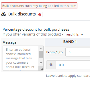 Setting bulk discounts for an item