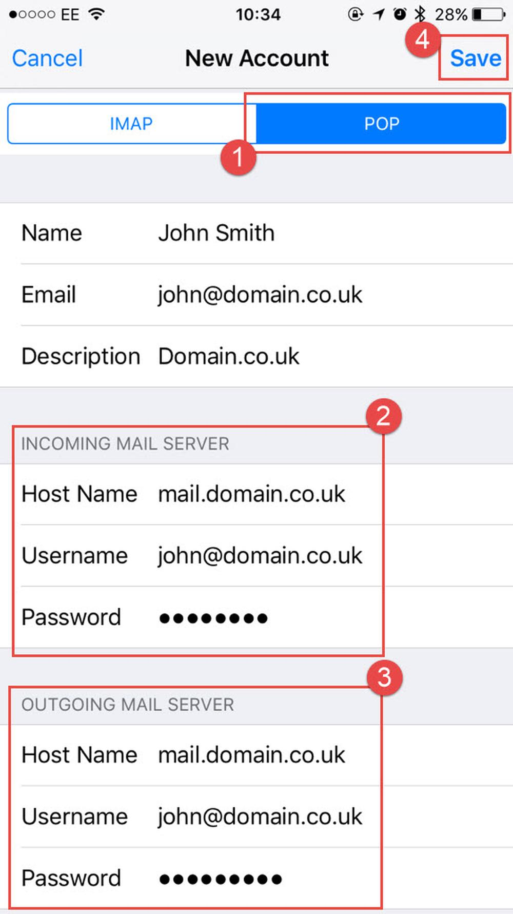 Add all the mail server details .