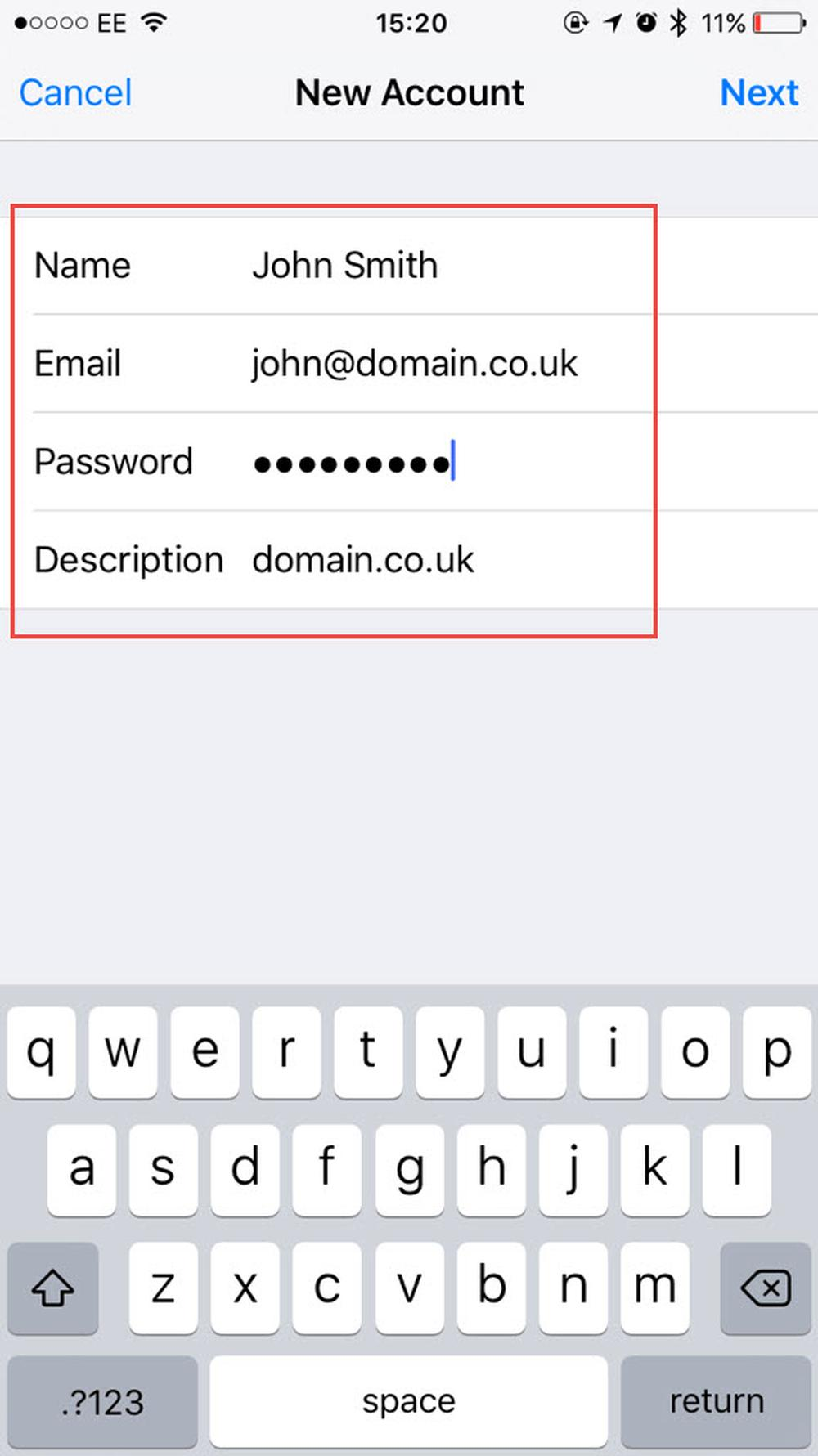 Create the new mail account