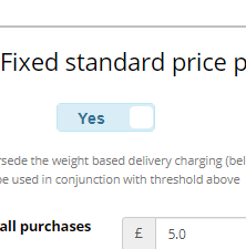 Set fixed standard delivery fee