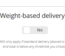 Weight-based delivery price bands