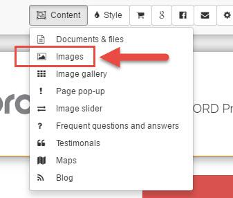 Option 1 : Upload using the content/ images button.