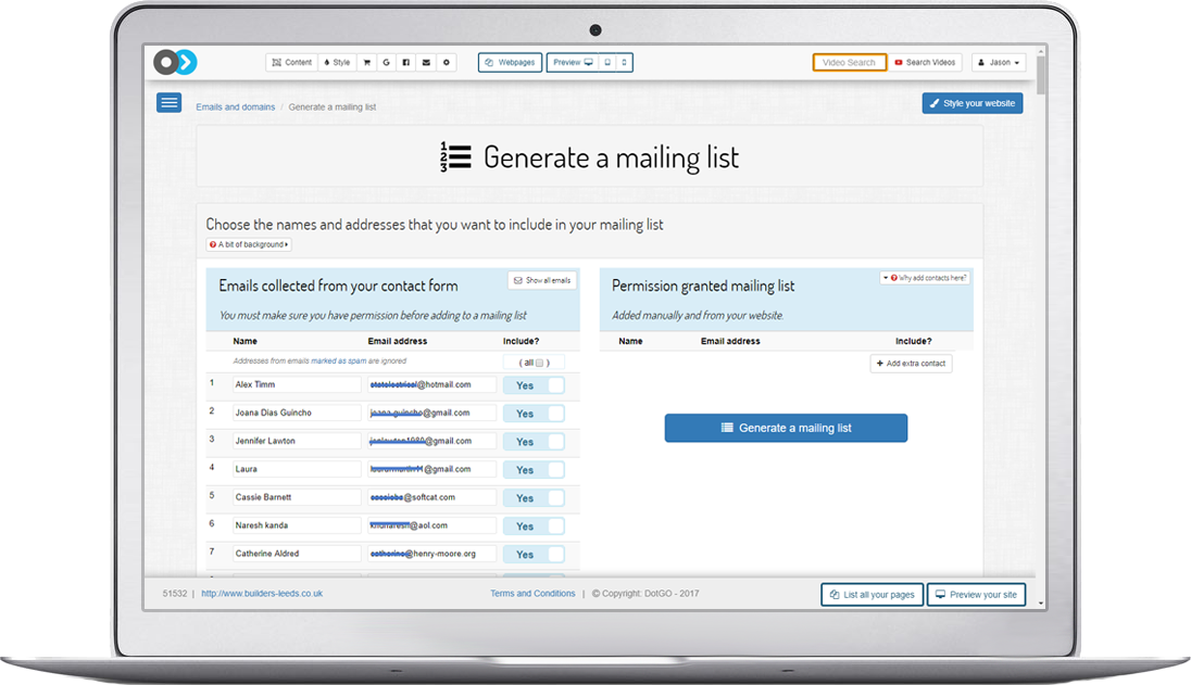 Collect and manage email addresses to create a mailing list