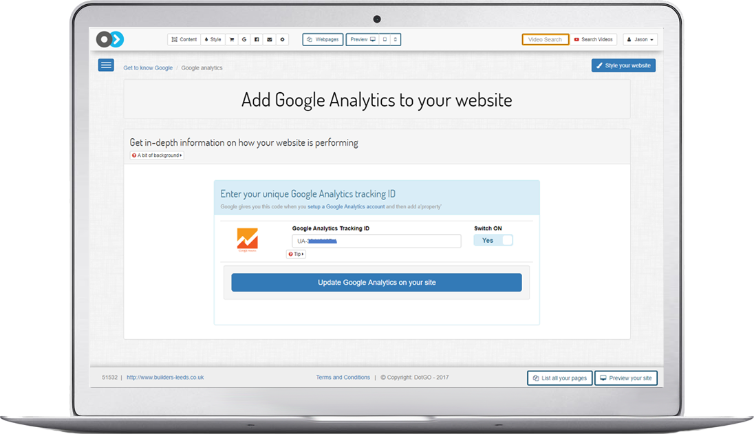 Add Google analytics across your entire site by simply adding your analytics ID