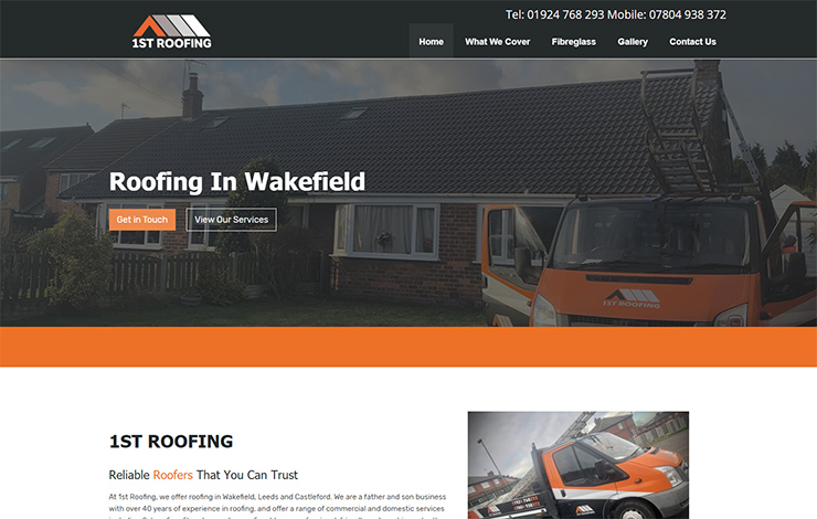 Website Design for 1st Roofing in Wakefield