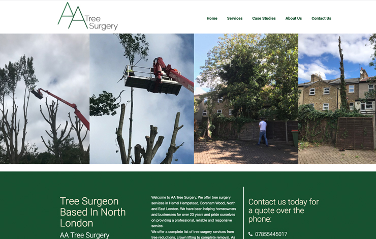 Website Design for Tree Surgery in North London | AA Tree Surgery