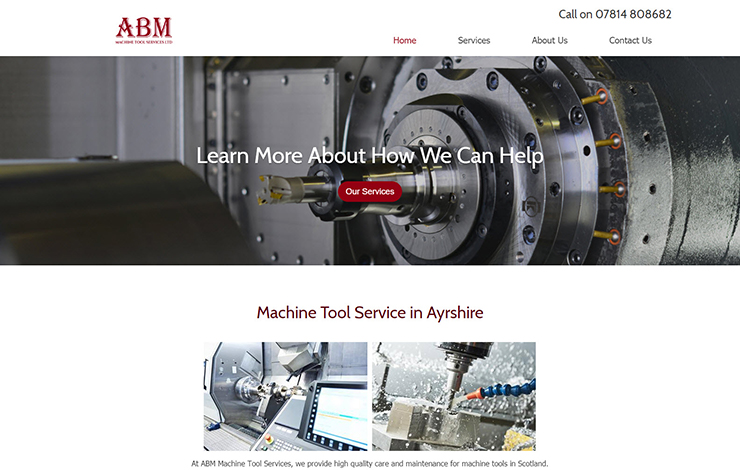 Website Design for ABM Machine Tool Service in Ayrshire