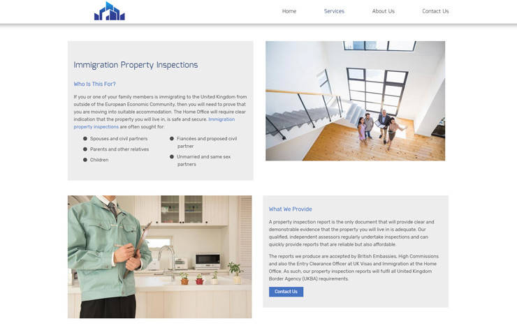 Website Design for Immigration property inspections | MA Property Surveys