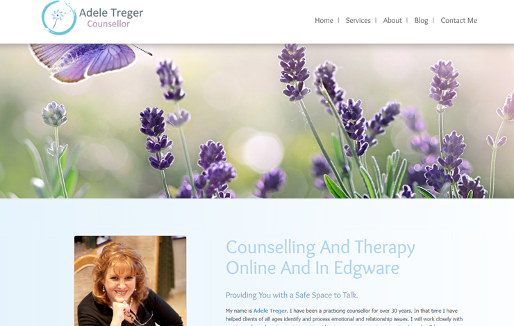 Website Design for Adele Treger | Counselling and Therapy in Edgware and Online
