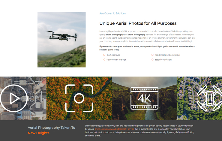 Website Design for Drone Photography and Videography