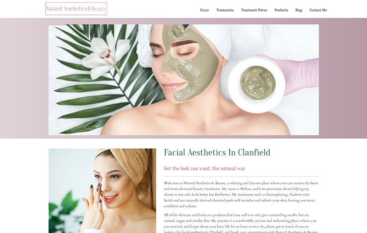 Website Design for Facial aesthetics in Clanfield and Waterlooville