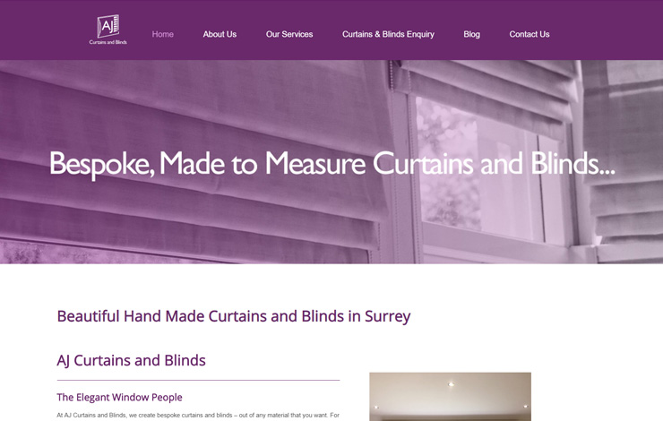 Website Design for Curtains and Blinds in Surrey | AJ Curtains and Blinds