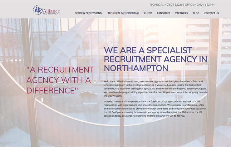 Website Design for Recruitment Agency in Northampton
