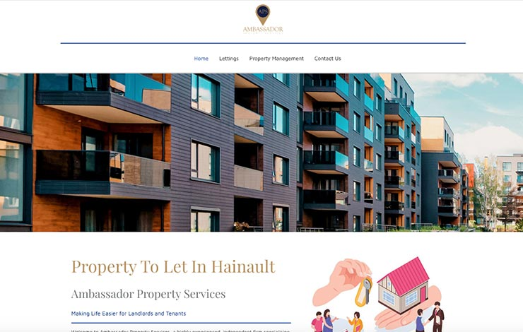 Website Design for Property To Let In Hainault | Ambassador Property Services | Home