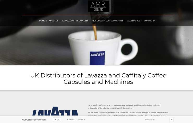 Website Design for Official Lavazza coffee capsule distributor