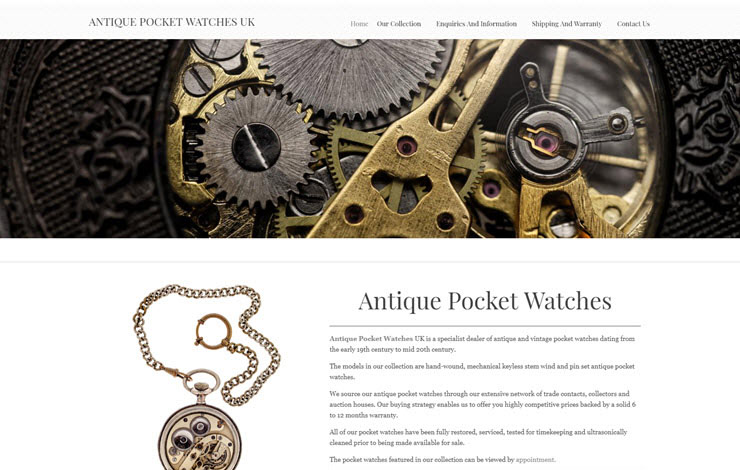 Website Design for Specialist dealer of antique pocket watches