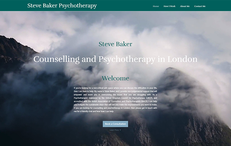 Website Design for Psychotherapy in London | Counselling with Steve Baker