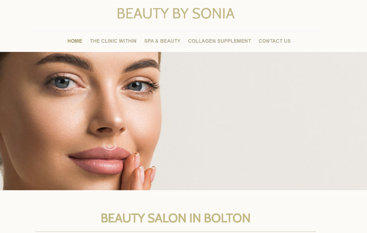 Website Design for Beauty Salon in Bolton | BEAUTY BY SONIA