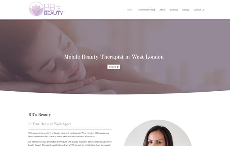 Website Design for BBS Beauty | Mobile Beauty Therapist in London