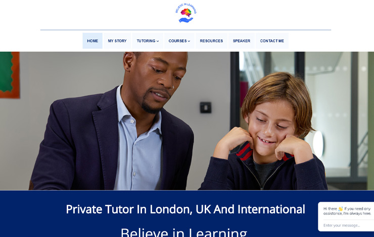 Website Design for Private Tutor in London | Believe in Learning