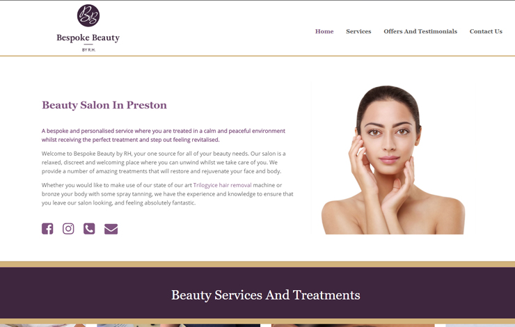 Website Design for Bespoke Beauty Salon In Preston | Bespoke Beauty