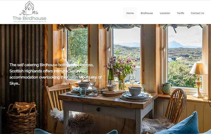 Website Design for Self-Catering Accommodation in Applecross | The Birdhouse