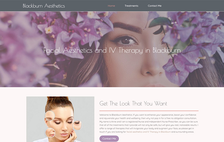 Website Design for Facial aesthetics and IV therapy in Blackburn