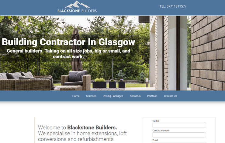 Website Design for Blackstone Builders | Building Contractors in Glasgow