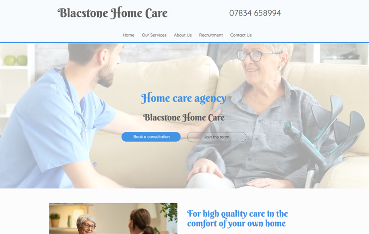 Website Design for Blacstone Home Care Agency