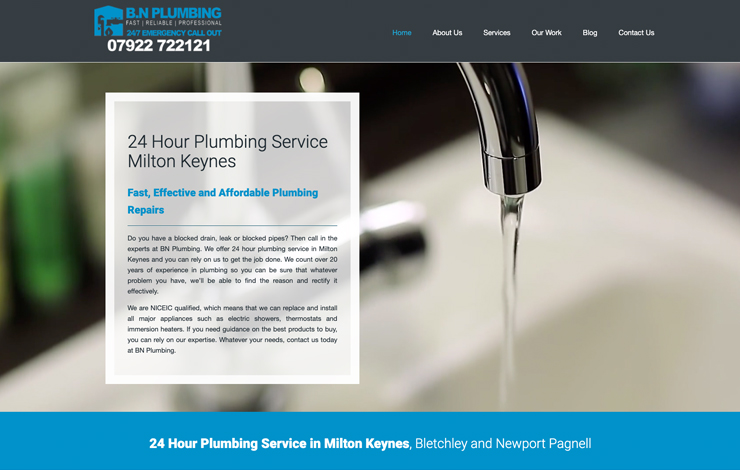 Website Design for 24 Hour Plumbing Services in Milton Keynes