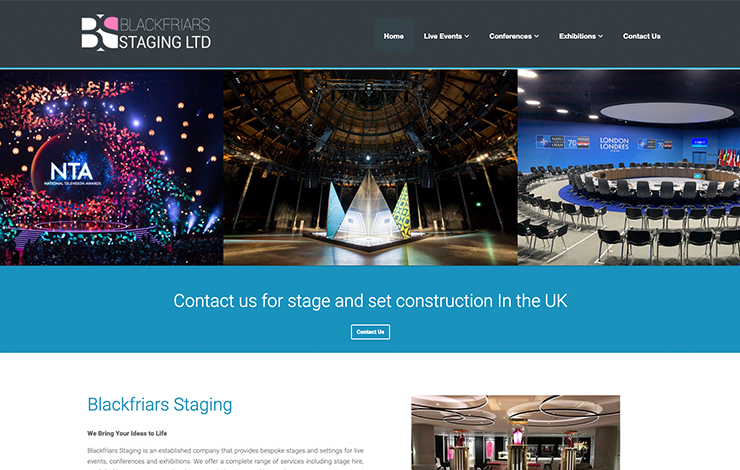 Website Design for Set Construction in UK | Blackfriars Staging