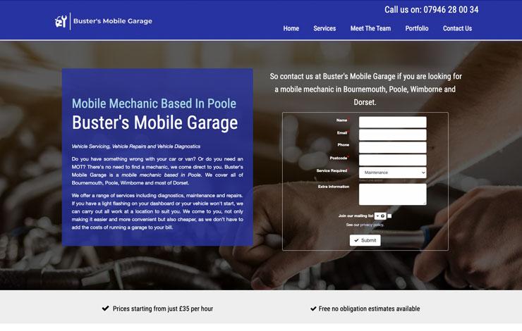 Website Design for Mobile Mechanic Based In Poole | Busters Mobile Garage