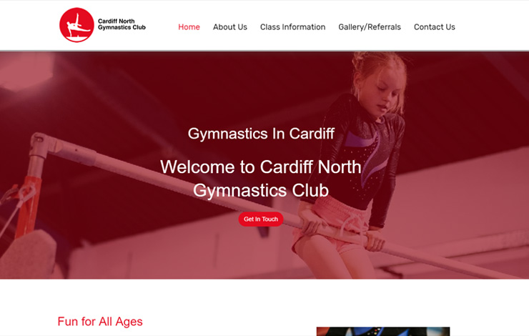 Website Design for Gymnastics in Cardiff | Cardiff North Gymnastics Club Ltd.
