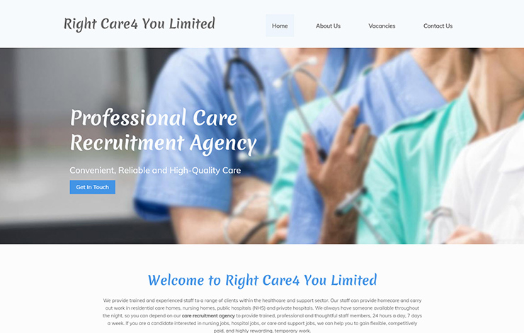Website Design for Care recruitment agency in Northamptonshire