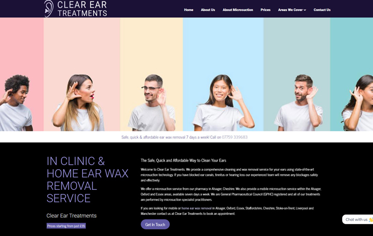 Website Design for Home ear wax removal in Alsager