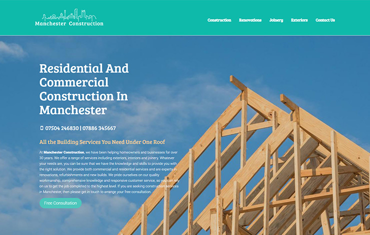 Website Design for Manchester Construction - Renovations, conversions, joinery and exteriors