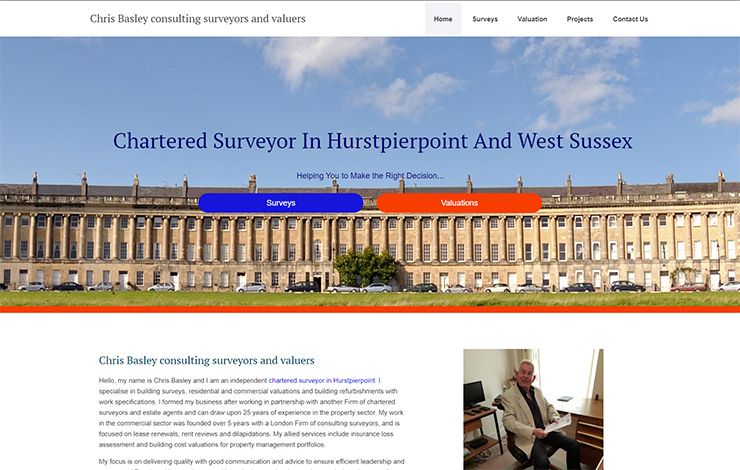 Website Design for Chris Basley consulting surveyors and valuers in Hurstpeirpoint