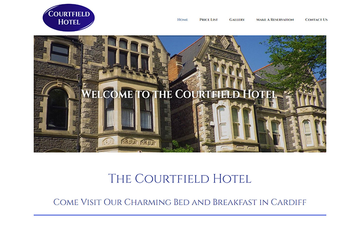 Website Design for Stay at our bed and breakfast in Cardiff | Courtfield Hotel