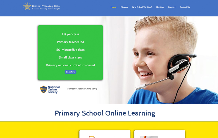Website Design for Critical Thinking Kids | Primary School Online Learning