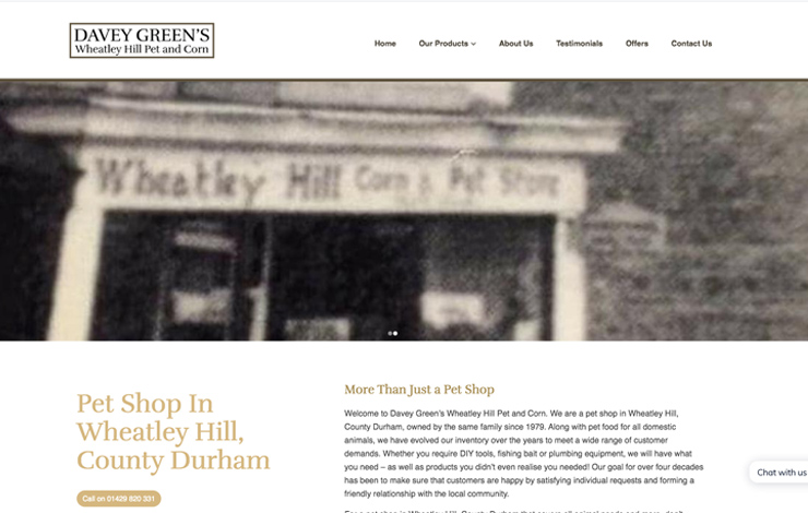Website Design for Pet shop in Wheatley Hill | Davey Green's