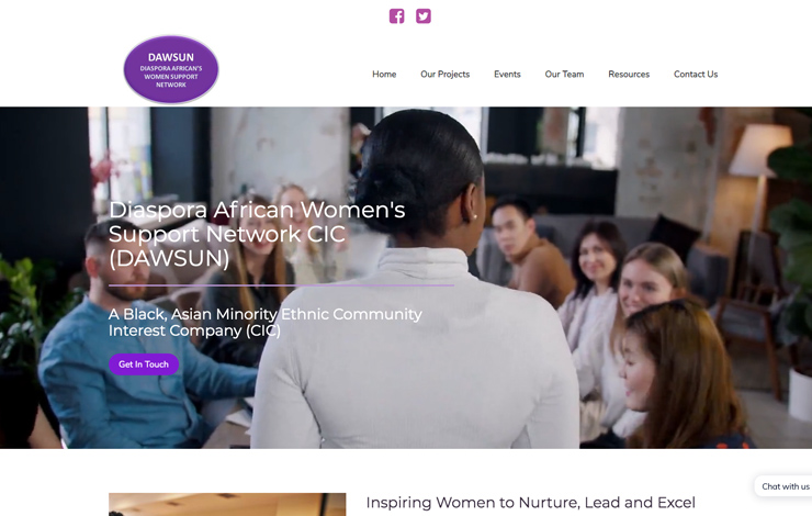 Website Design for Diaspora African Women's Support Network BAME CIC | DAWSUN