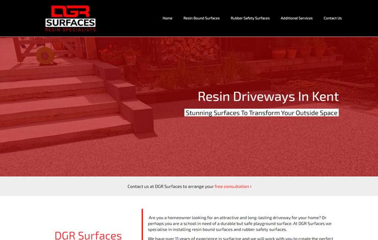 Website Design for DGR Surfaces | Resin Driveways in Kent