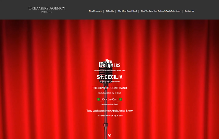 Website Design for Authentic Bands for Hire | Dreamers Agency