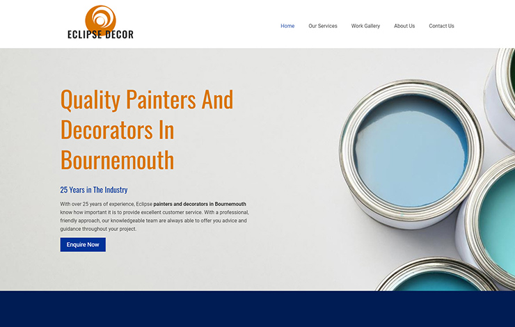 Website Design for Painter decorators in Bournemouth | Eclipse Decor