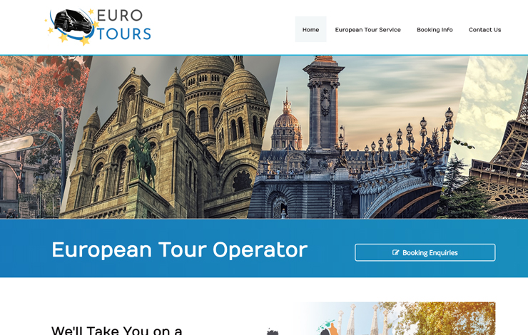Website Design for European Tour Service Operator in UK and Europe | Euro Tours