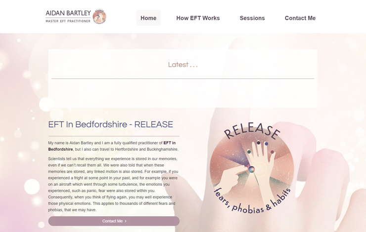Website Design for EFT In Bedfordshire | RELEASE fears phobias and habits