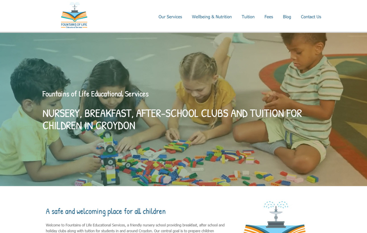 Website Design for Nursery and tuition for children in Croydon | Fountains Of Life