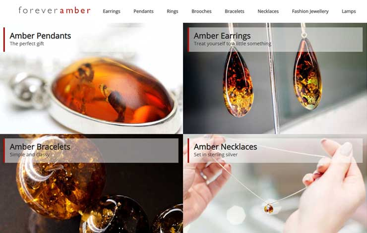 Website Design for Amber Jewellery | Forever Amber Jewellery