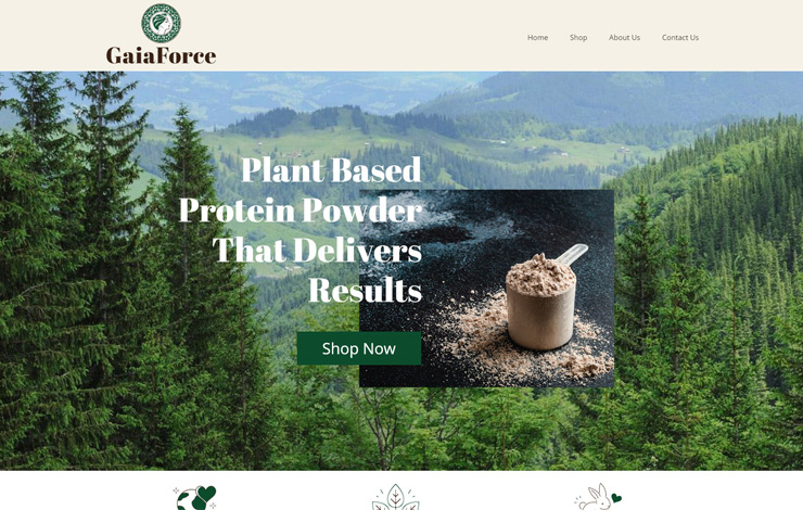 Website Design for Plant Based Protein Powder and Supplements | GaiaForce