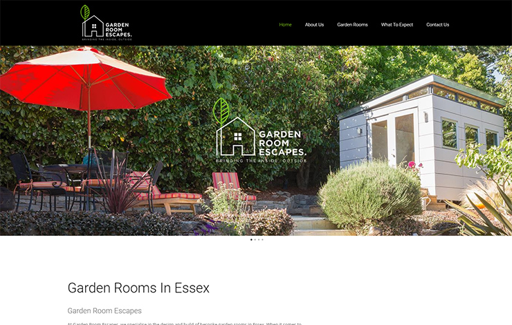 Website Design for Garden Rooms in Essex | Garden Room Escapes